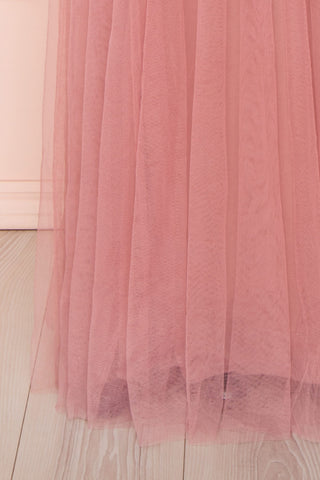 Ilaria Rose Pink Mesh Gown with Plunging Neckline | Boutique 1861 bottom close-up
