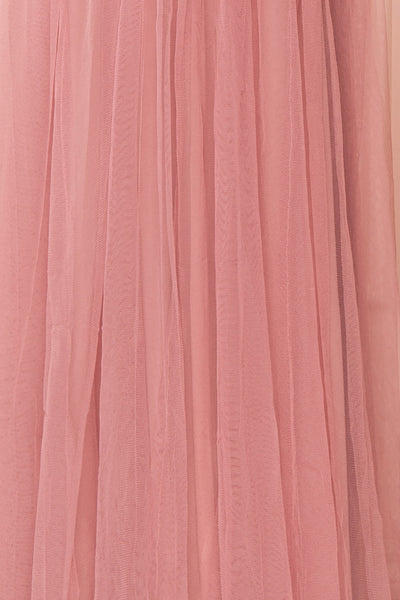 Ilaria Rose Pink Mesh Gown with Plunging Neckline | Boutique 1861 fabric detail