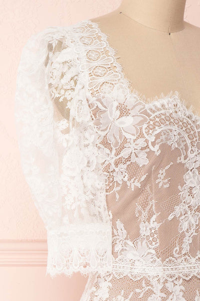 Ileana White Lace Short Fitted Bridal Dress | Boudoir 1861