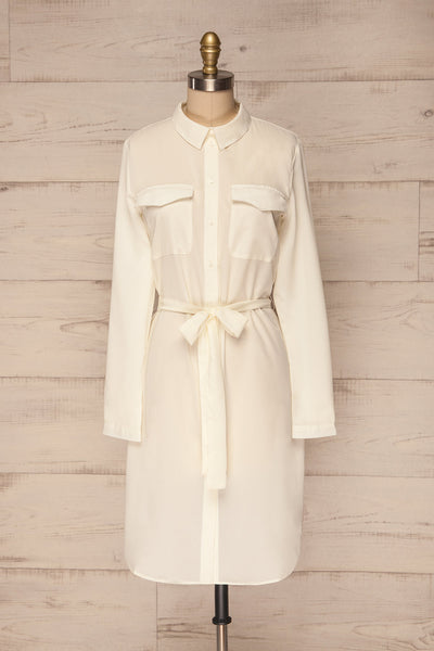 Ilion Milk Ivory Long Sleeved Shirt Dress | La Petite Garçonne