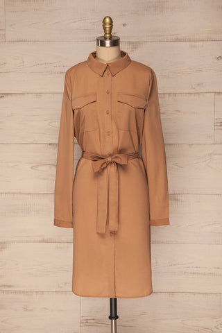 Ilion Mocha Light Brown Long Sleeved Shirt Dress | La Petite Garçonne