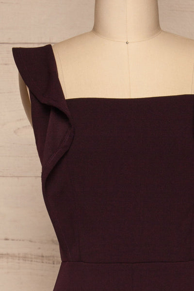 Ilnes Prune Plum Jumpsuit | Combinaison | La Petite Garçonne front close-up