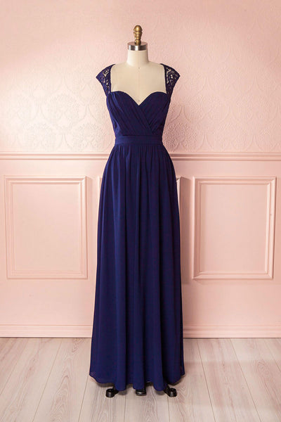 Ilsa Navy Blue Pleated Maxi Gown | Boudoir 1861