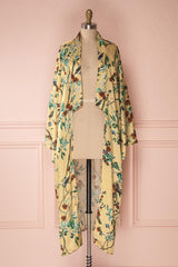 Ilyne Golden Yellow Floral Long Sleeve Midi Kimono | Boutique 1861