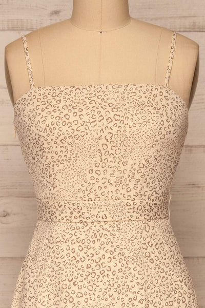 Imbabura Beige Animal Print Midi Dress | La petite garçonne front close-up