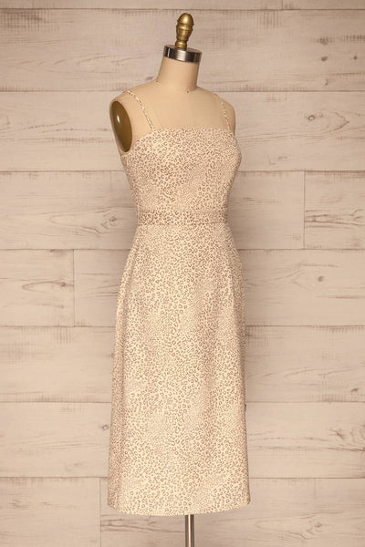 Imbabura Beige Animal Print Midi Dress | La petite garçonne side view