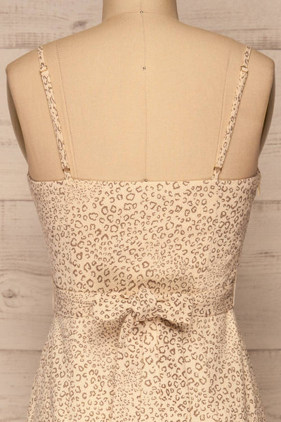 Imbabura Beige Animal Print Midi Dress | La petite garçonne back close-up