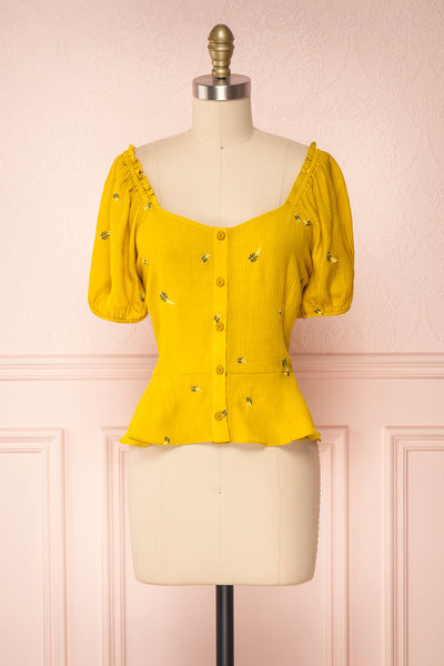 Imelda Yellow Chartreuse Off-Shoulder Crop Top | Boutique 1861 front view