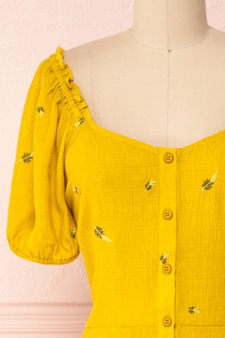 Imelda Yellow Chartreuse Off-Shoulder Crop Top | Boutique 1861 front close-up