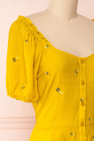 Imelda Yellow Chartreuse Off-Shoulder Crop Top | Boutique 1861 side close-up