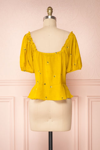 Imelda Yellow Chartreuse Off-Shoulder Crop Top | Boutique 1861 back view