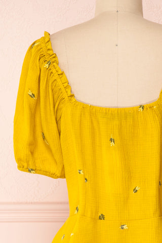 Imelda Yellow Chartreuse Off-Shoulder Crop Top | Boutique 1861 back close-up