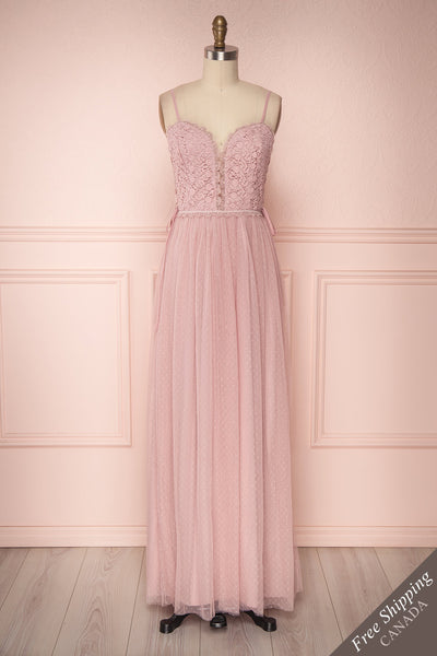 Inasse Lilac Tulle & Lace A-Line Maxi Dress | Boutique 1861