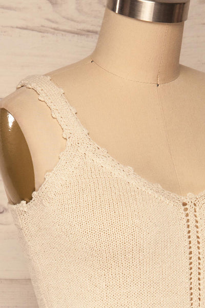 Innsbruck Beige Knit Camisole | La petite garçonne side close up