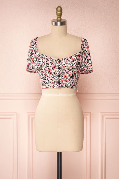 Insko Pink Floral Buttoned Crop Top | Boutique 1861 front view