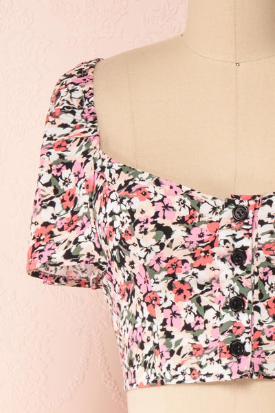 Insko Pink Floral Buttoned Crop Top | Boutique 1861 front close-up