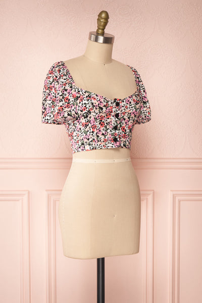 Insko Pink Floral Buttoned Crop Top | Boutique 1861 side view