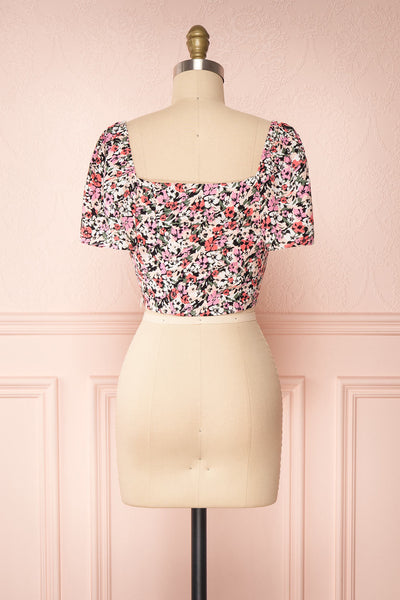 Insko Pink Floral Buttoned Crop Top | Boutique 1861 back view