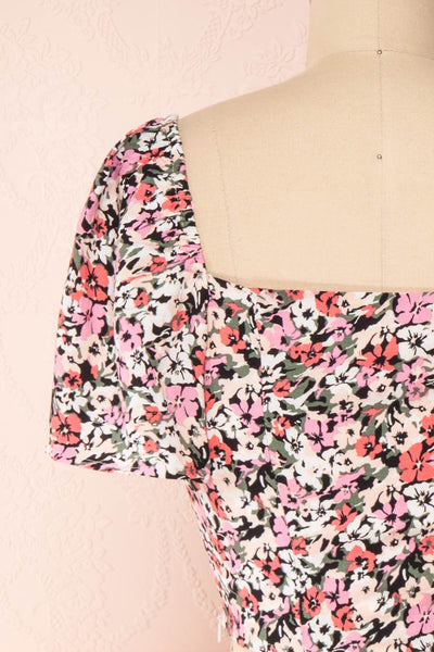 Insko Pink Floral Buttoned Crop Top | Boutique 1861 back close-up