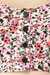 Insko Pink Floral Buttoned Crop Top | Boutique 1861 fabric details