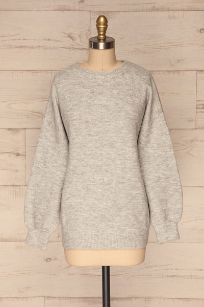 Iocaste Grey Variegated Oversized Sweater | La Petite Garçonne front view