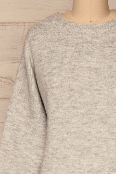 Iocaste Grey Variegated Oversized Sweater | La Petite Garçonne front close-up