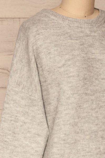 Iocaste Grey Variegated Oversized Sweater | La Petite Garçonne side close-up