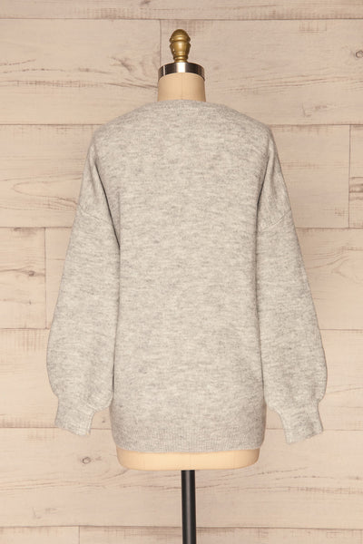 Iocaste Grey Variegated Oversized Sweater | La Petite Garçonne back view