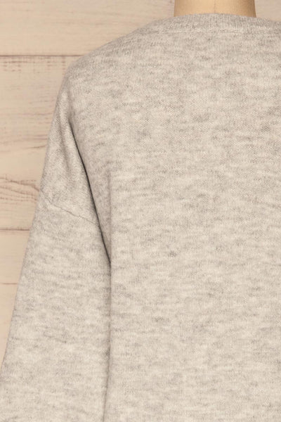 Iocaste Grey Variegated Oversized Sweater | La Petite Garçonne back close-up