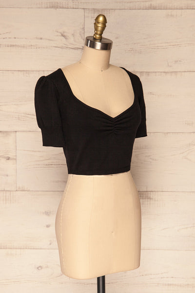 Ionia Black Short Sleeved Knit Crop Top | La Petite Garçonne 3