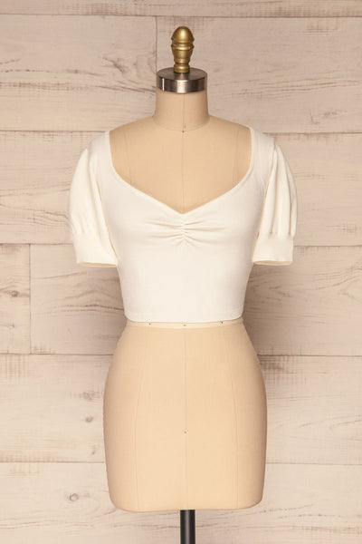 Ionia Ivory Short Sleeved Knit Crop Top | La Petite Garçonne 1