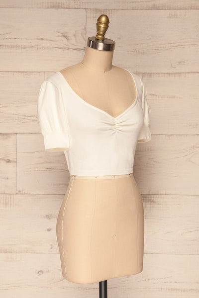 Ionia Ivory Short Sleeved Knit Crop Top | La Petite Garçonne 3