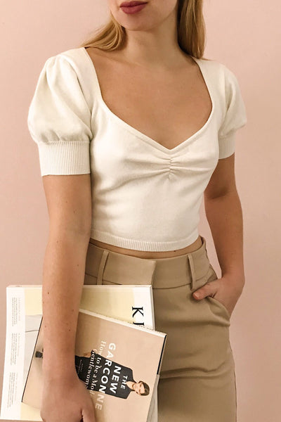 Ionia Ivory Short Sleeved Knit Crop Top | La Petite Garçonne on model