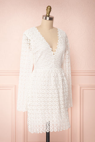 Iphigenia White Lace Long Sleeved Cocktail Dress | Boutique 1861