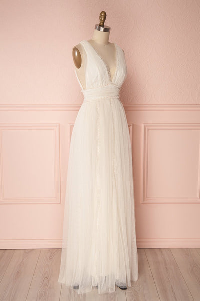 Irdina Ivory Mesh Grecian Gown with Plunging Neckline | Boudoir 1861