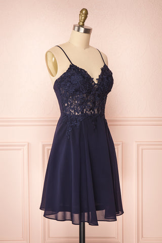 Irena Lapis Navy Blue Short Dress w/ Embroidered Mesh | Boutique 1861 side view