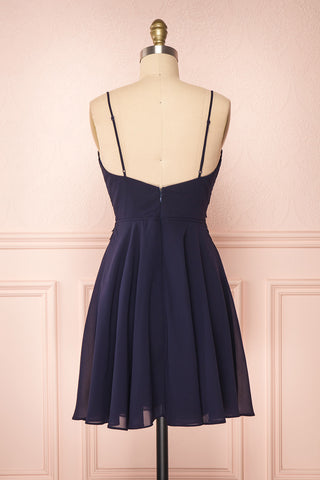 Irena Lapis Navy Blue Short Dress w/ Embroidered Mesh | Boutique 1861 back view