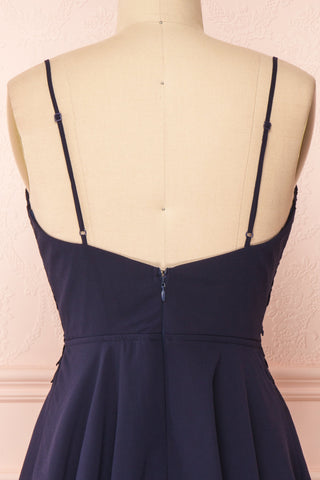 Irena Lapis Navy Blue Short Dress w/ Embroidered Mesh | Boutique 1861  back close-up