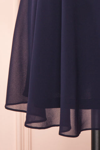 Irena Lapis Navy Blue Short Dress w/ Embroidered Mesh | Boutique 1861 bottom close-up