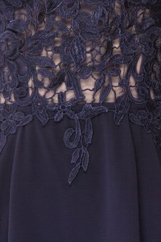 Irena Lapis Navy Blue Short Dress w/ Embroidered Mesh | Boutique 1861 fabric detail