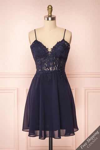 Irena Lapis Navy Blue Short Dress w/ Embroidered Mesh | Boutique 1861 front view