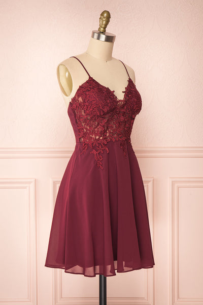Irena Ruby Burgundy Short Dress w/ Embroidered Mesh | Boutique 1861 side view