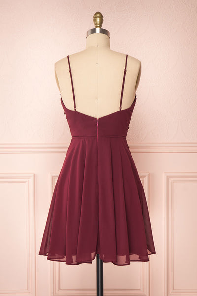 Irena Ruby Burgundy Short Dress w/ Embroidered Mesh | Boutique 1861 back view