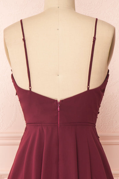 Irena Ruby Burgundy Short Dress w/ Embroidered Mesh | Boutique 1861 back close-up