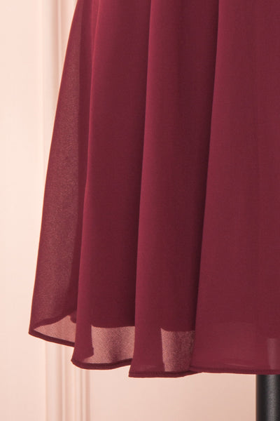 Irena Ruby Burgundy Short Dress w/ Embroidered Mesh | Boutique 1861 bottom close-up