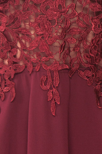 Irena Ruby Burgundy Short Dress w/ Embroidered Mesh | Boutique 1861 fabric detail