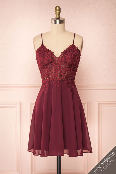 Irena Ruby Burgundy Short Dress w/ Embroidered Mesh | Boutique 1861 front view