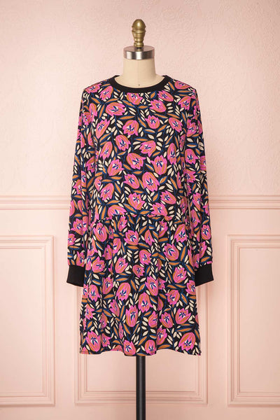 Iridessa Colorful Floral Long Sleeved Tunic Dress face view | Boutique 1861