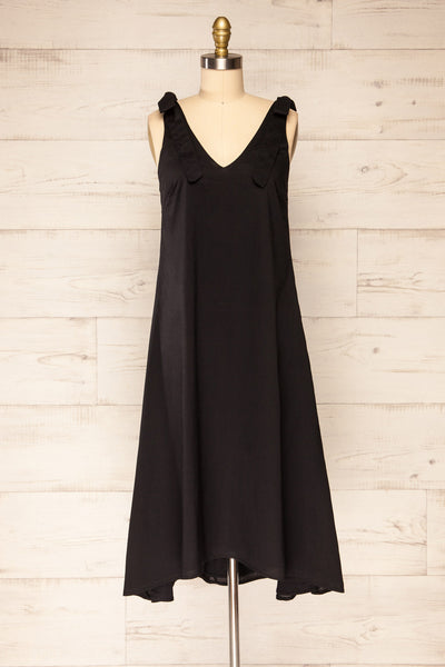 Irig Black V-Neck Knotted Straps Midi Dress | La petite garçonne front view