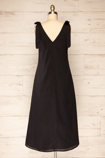 Irig Black V-Neck Knotted Straps Midi Dress | La petite garçonne back view